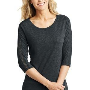 Ladies Tri Blend Lace 3/4 Sleeve Tee Thumbnail