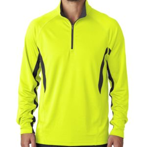 UltraClub® Adult Cool & Dry Color Block Dimple Mesh 1/4-Zip Pullover Thumbnail