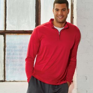 UltraClub® Men's Cool & Dry Sport Performance Interlock 1/4-Zip Pullover Thumbnail